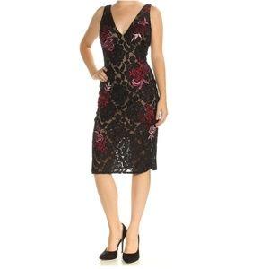 NWT BETSY & ADAM Women's Black Floral Dress 8 $259
